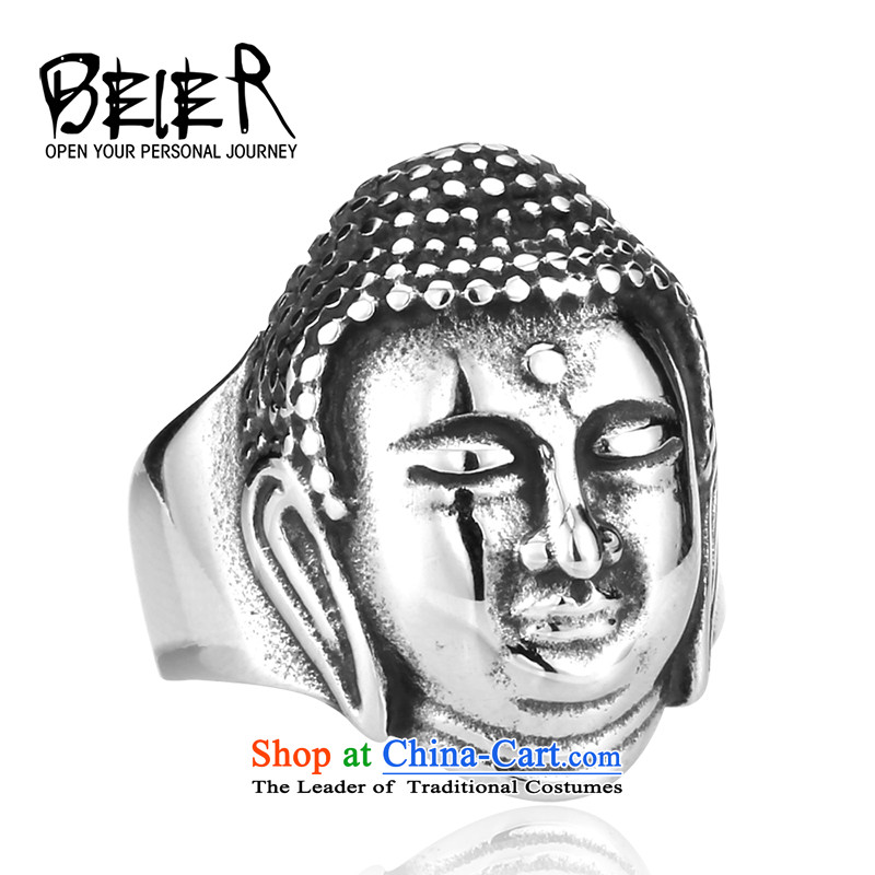 Beier stylishly titanium steel male Sakyamuni Buddhist rings irrepressible China wind lifestyle recommendations of personality chaoren rings gold-code 13#