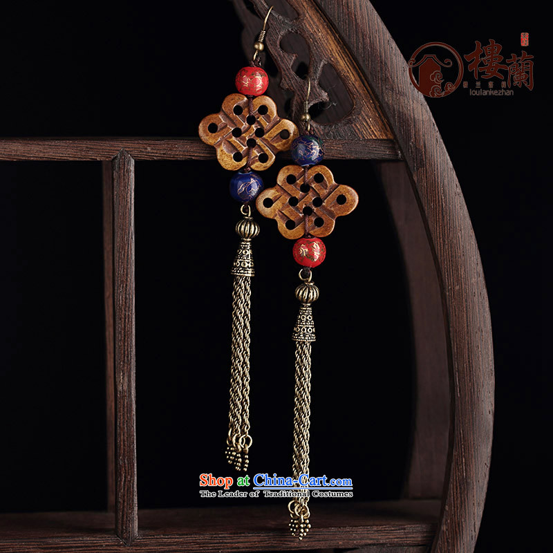 The original Manual of ethnic ornaments ear earrings Ancient Costume hanging ears long temperament ear fall arrest girls ordinary alloy earhook copper-colored __, not easy to deform the hardness is high