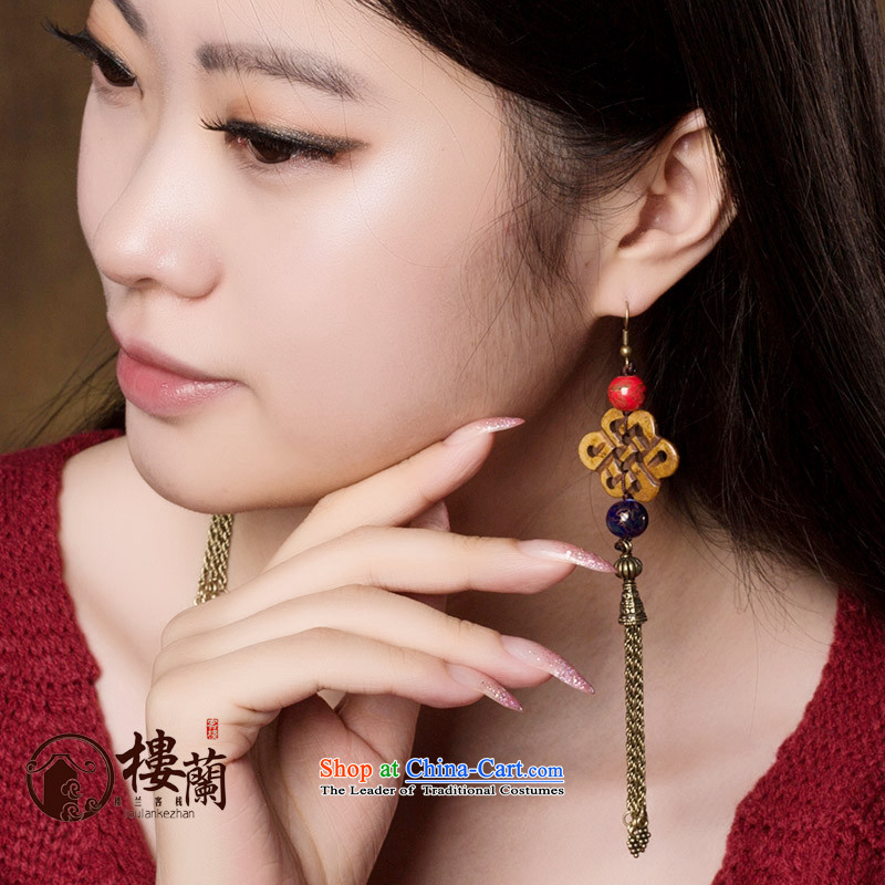 The original Manual of ethnic ornaments ear earrings Ancient Costume hanging ears long temperament fall arrest girls between the ear ear clip copper-colored _Fit plus _2 No Kungkuan