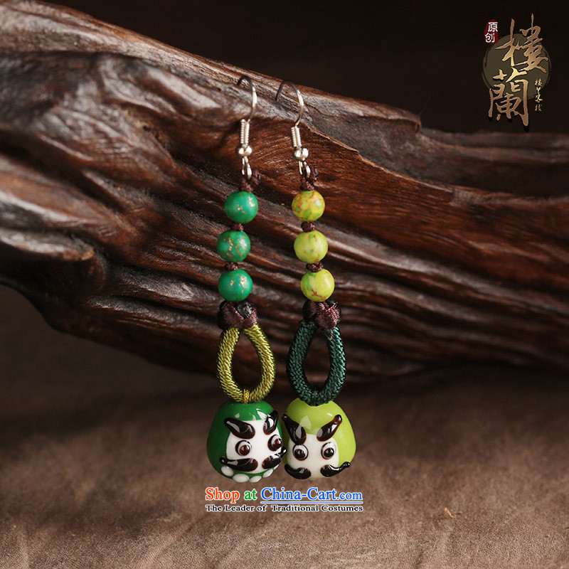 Green glass, ear ornaments nation manually wind earrings long female ancient style classical ear fall arrester for Ear Clip Silver _Fit No Kungkuan plus 2 million