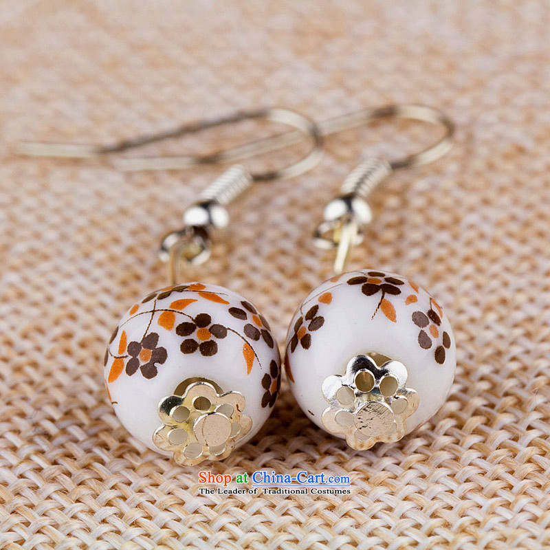 Jing Huan Sleek and versatile Chinese Folk Wind creative retro personality manually ornaments ceramic accessories PORCELAIN BEADS JERG011 earrings ear ear ornaments lady spent the fall arrester
