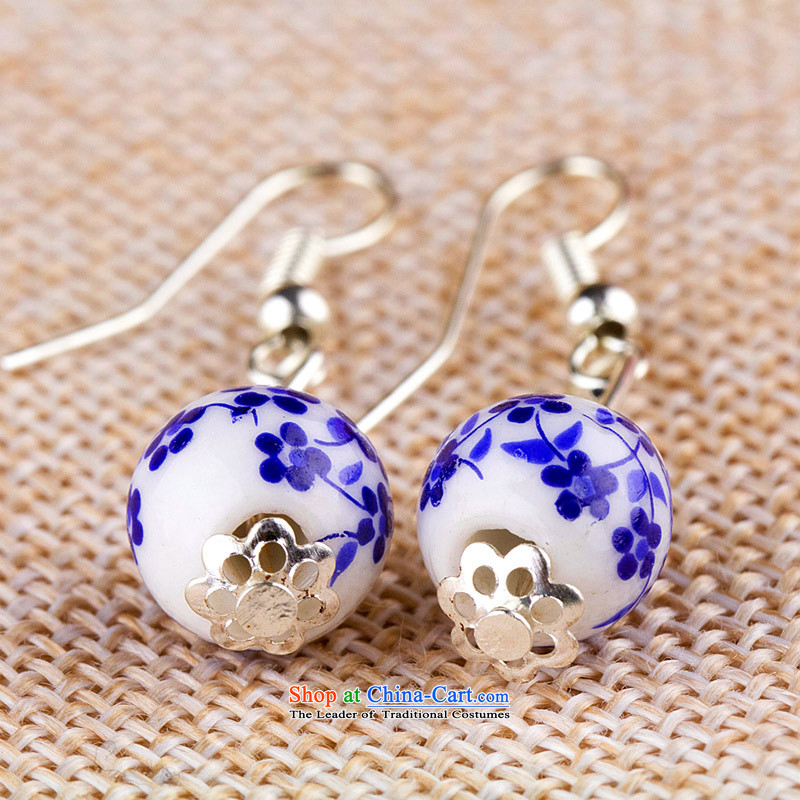 Jing Huan Sleek and versatile Chinese Folk Wind creative retro personality manually ornaments ceramic accessories PORCELAIN BEADS JERG011 earrings ear ear ornaments blue flowers fall arrest