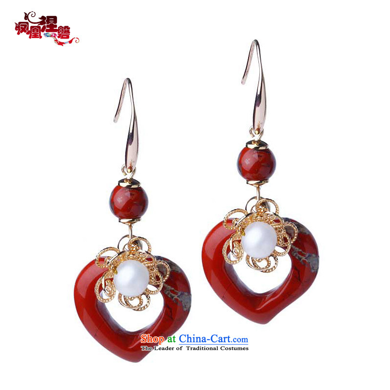 Phoenix Nirvana earrings stylish girl pearl pendants China wind fashionable individual long Ear Ornaments