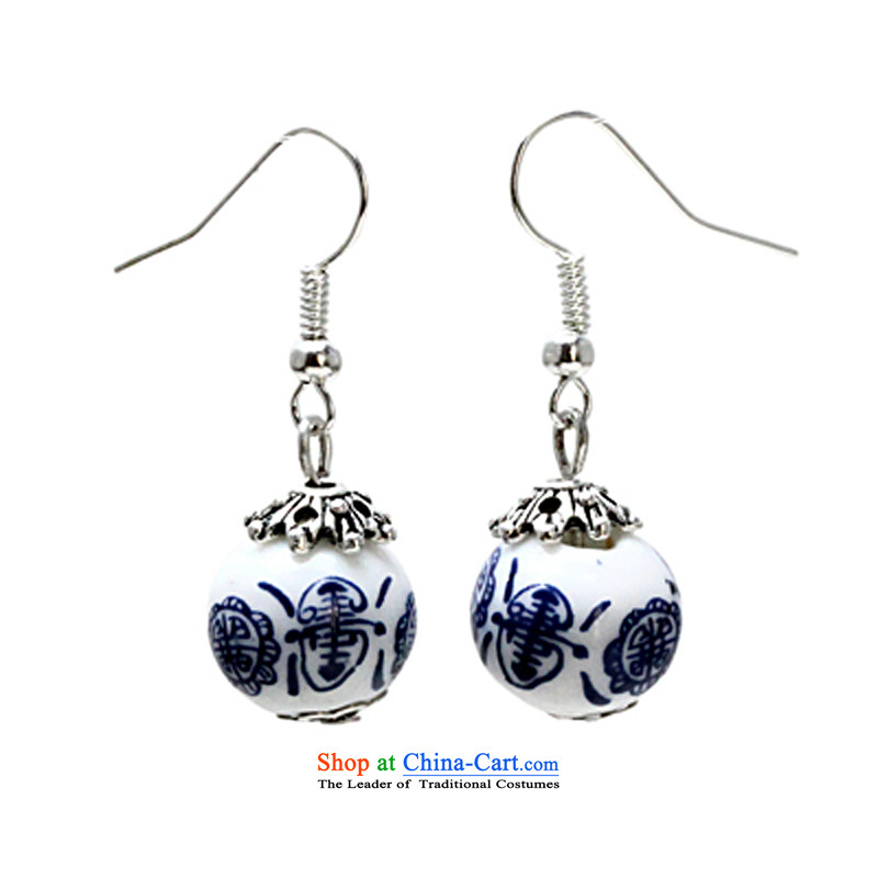 If Selina Chow possession porcelain silver earrings birthday gift China wind ornaments female 925 silver hooks