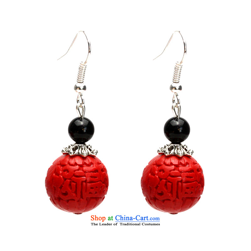 As ethnic Chinese red Selina Chow carved earrings verdant paint, birthday gift diao lacquer well field 925 silver jewelry bride Hook