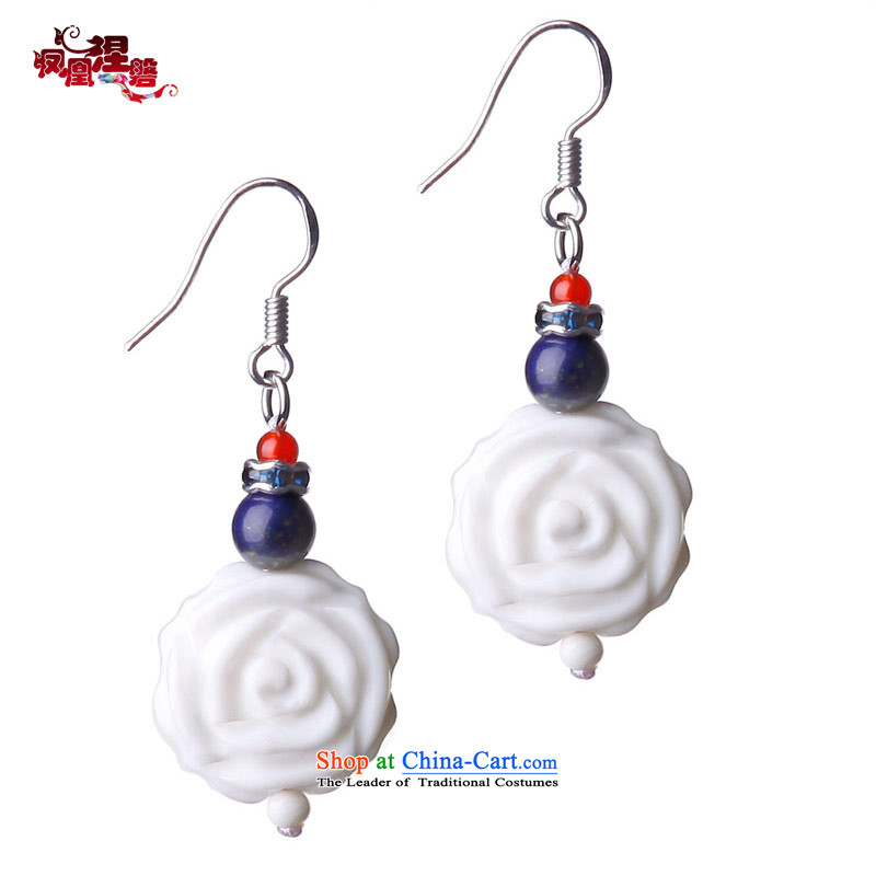 Phoenix Nirvana Jewelry China wind earrings and mainly female White Rose Original manually DIY sub-pei ear