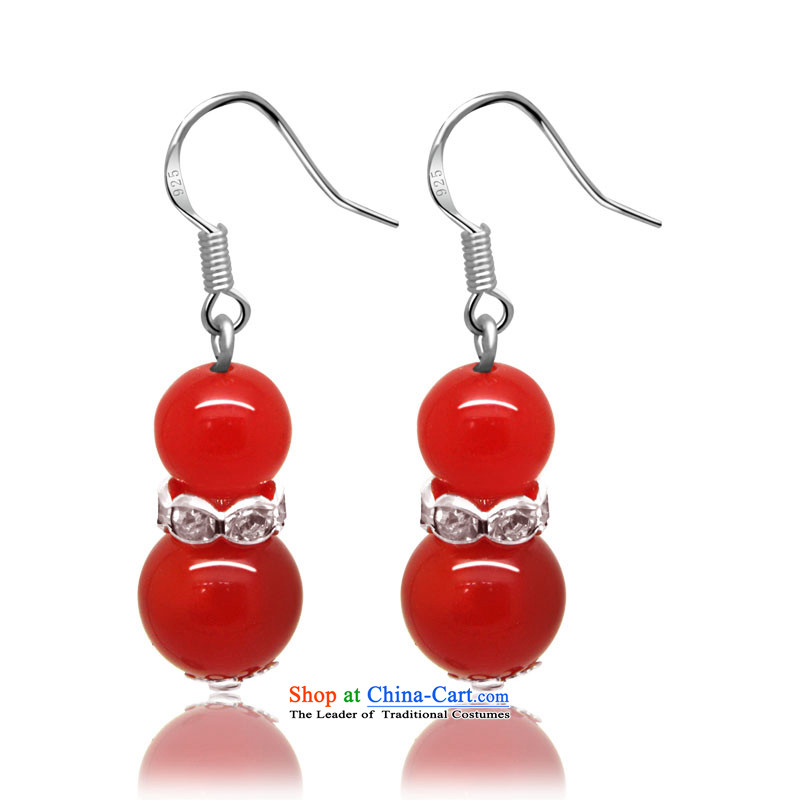Mai Gigi Lai 925 Yingerh Cod hook with parquet emulation drill the classic Chinese Red Agate Pendant ear earrings gourd this year by the gift