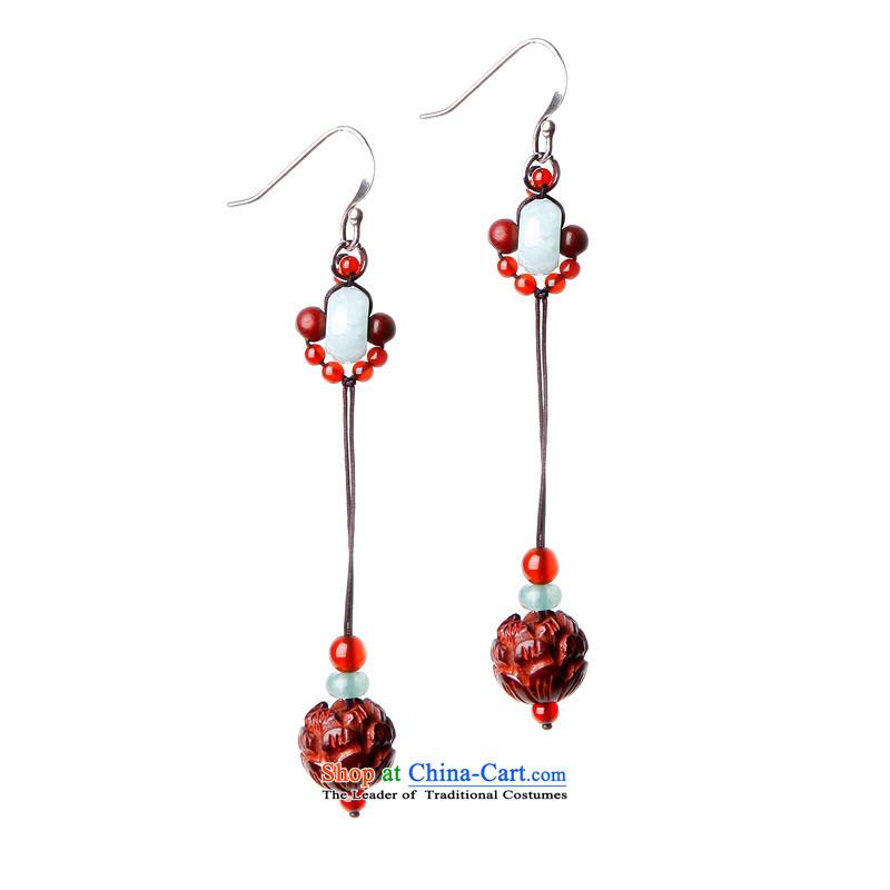 Phoenix Nirvana jewelry earrings stylish girl Red Agate hots Red Sandalwood original manually China wind-tone AD027121210W