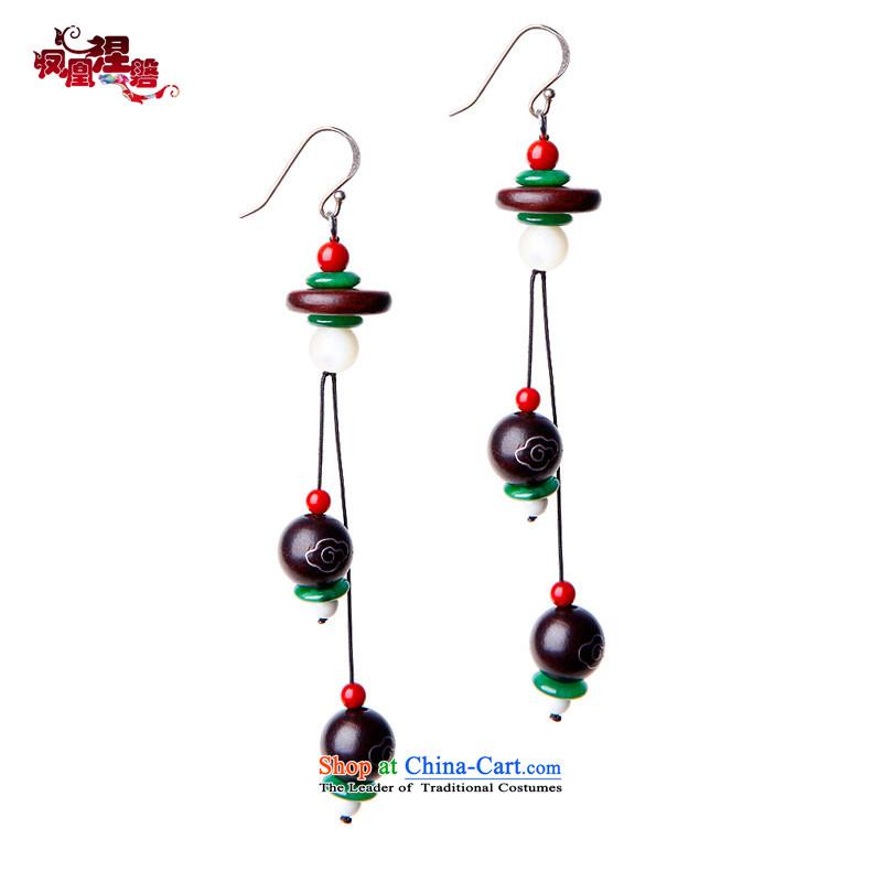 Phoenix Nirvana earrings female Big-red sandalwood bead long earrings manually diy China wind ornaments asked AD023121210W Buddha