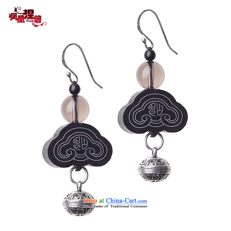 Phoenix Nirvana original earrings female retro ebony ruyi tea Crystal 925 silver China wind manually K59140101 Ornaments