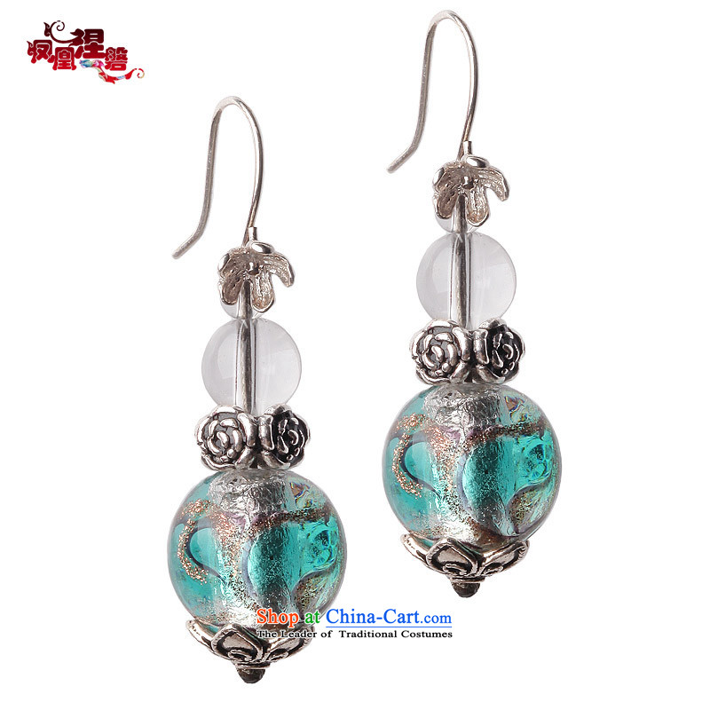 Phoenix Nirvana original earrings female retro style 925 silver glass ear Fall Arrest China wind manually DIY jewelry mute good Earrings