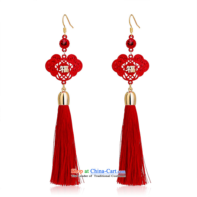 Card Lom茅 Ear Ornaments New Year Verbruggen large red well fields of ethnic Chinese knots of earrings cheery girl brides married long crystal edging ears pierced ears Fall Arrest