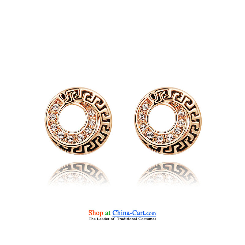 Ear Ornaments crystal gold-plated ancient style ears pierced ears female stylish jewelry products accessories diamond love S1 Rose Gold