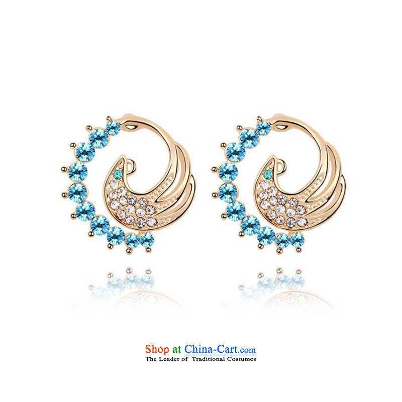 Unknown Reborn Phoenix From The Fire and stylish ears pierced gold women China wind ear ornaments of ethnic jewelry Marina Blue