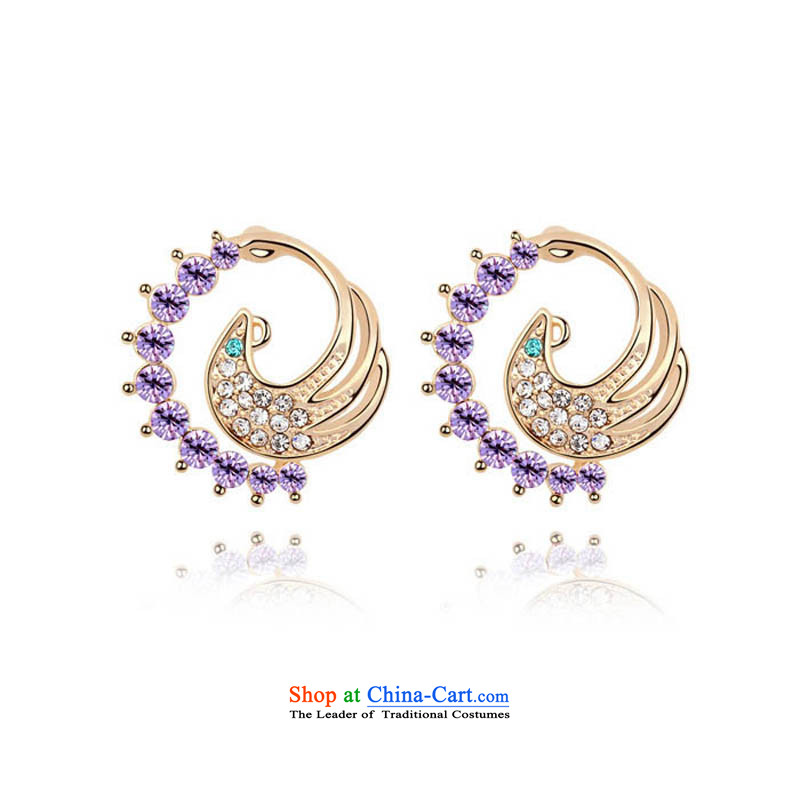 Unknown Reborn Phoenix From The Fire and stylish ears pierced gold women China wind ear ornaments of ethnic jewelry violet