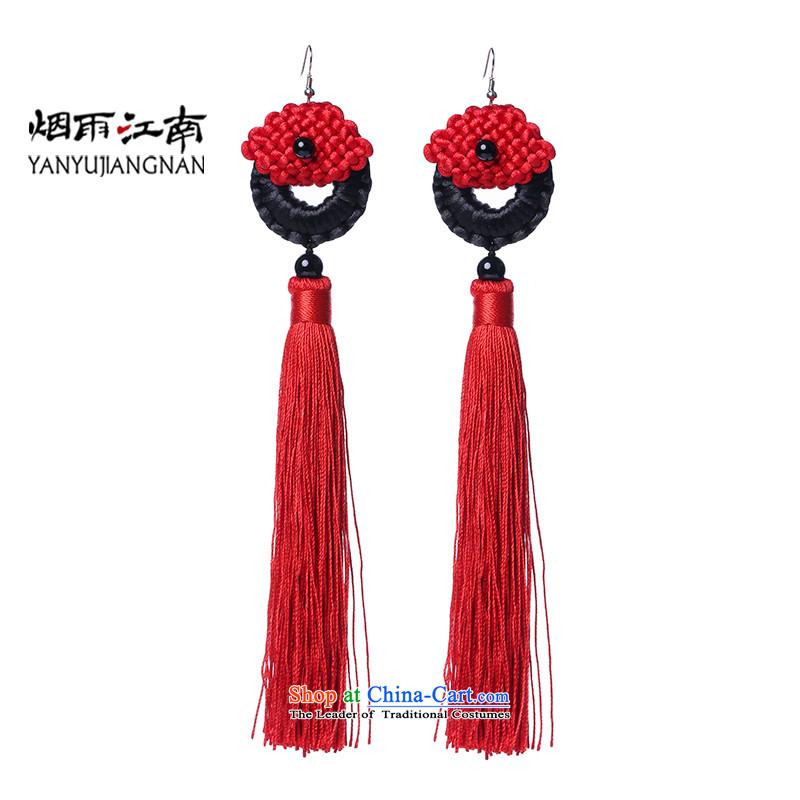 Gangnam-gu rainy earrings long marriages ear ear ornaments female national fall stream Su Red Classical China wind exaggerated
