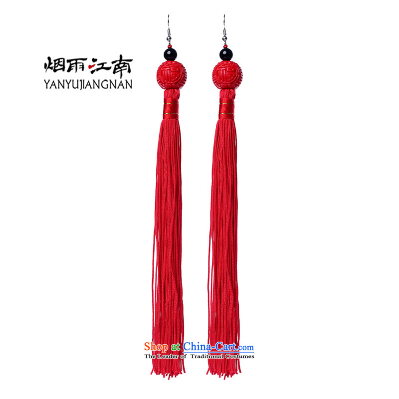 Red edging earrings retro China wind marriage handcrafted accessories from long-Kungkuan