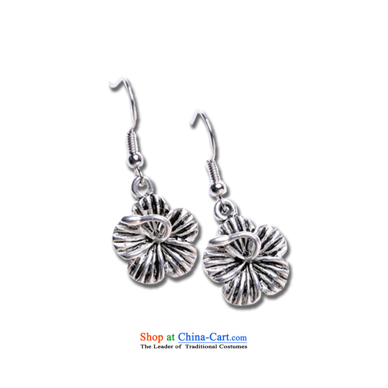 Take positive Miao silver earrings ethnic Chinese Wind Flower No Kungkuan ear fall arrest earrings ear ornaments jewelry Ear Clip Female