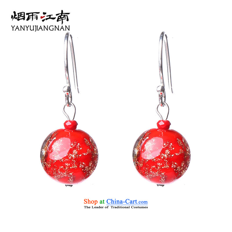 Gangnam-gu rainy retro earrings ear fall arrest red bride red marriage Ear Ornaments China wind female ornaments 925 glass clips