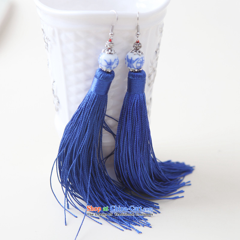 Song is colorful and stylish blue ceramic edging earrings ear Fall Arrest of ethnic manually retro China wind blue-and-Hi - Blue