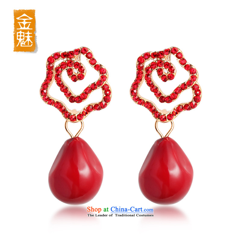 The Director Kim Won version stylish decoration earrings girl brides red ear fall arrester Chinese flowers water droplets ear ornaments 014 red