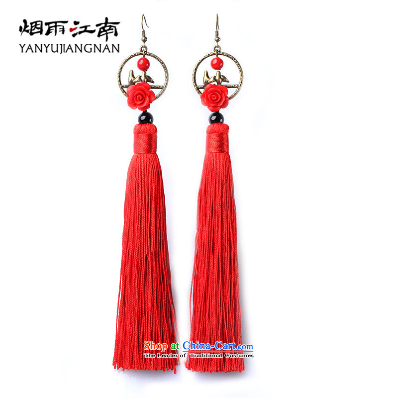 Gangnam-gu rainy existance wind earrings bridal red edging ears long roses ear Fall Arrest Exaggerating the China Wind 925 silver coarse ear hook