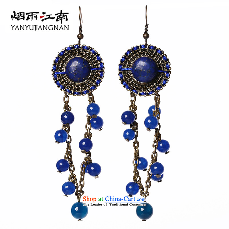 Gangnam-gu rainy jewelry earrings blue Classical China wind retro long national wind聽925 silver coarse ear hook