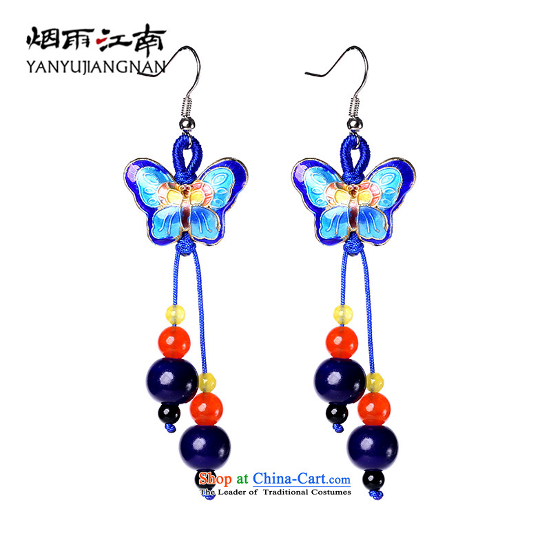 Gangnam-gu rainy Cloisonne Accessory butterfly earrings classic Chinese ethnic temperament long聽925 silver bold ear hook