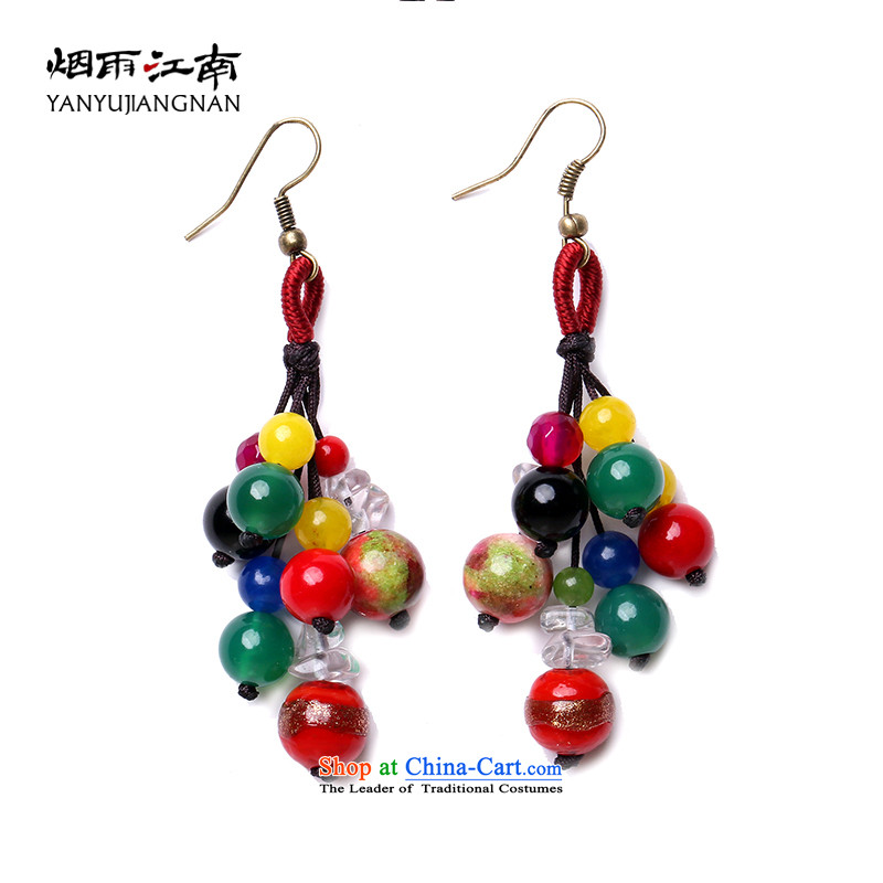 Gangnam-gu rainy in Yunnan ethnic wind earrings Lijiang ornaments long China wind ear fall arrest without Kungkuan temperament ear ornaments female聽925 silver coarse ear hook