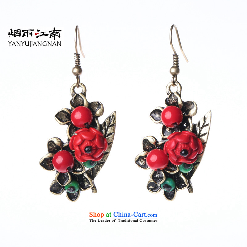 Gangnam-gu rainy ethnic earrings retro China wind in long red decorations temperament 925 silver coarse ear hook