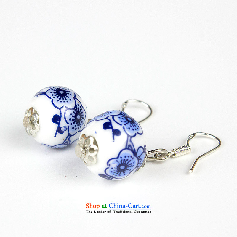 Jing Huan Sleek and versatile Chinese Folk Wind creative retro personality manually ornaments ceramic accessories PORCELAIN BEADS JERG011 earrings ear ear ornaments blue Fall Arrest