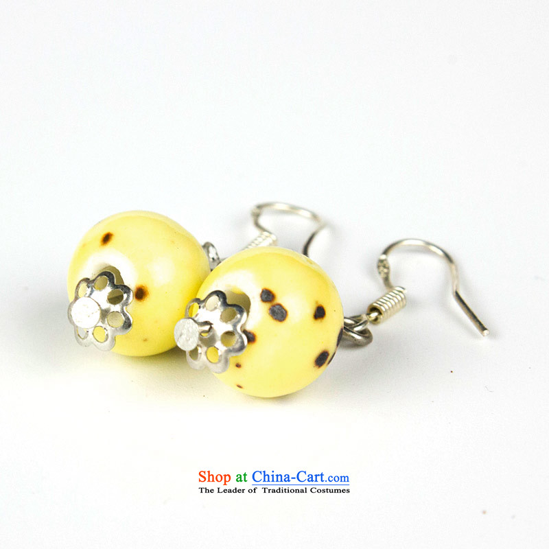Jing Huan Sleek and versatile Chinese Folk Wind creative retro personality manually ornaments ceramic accessories PORCELAIN BEADS JERG011 earrings ear ear ornaments fall arrester yellow