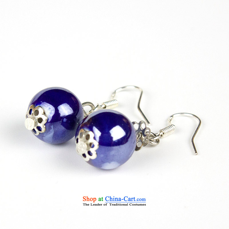 Jing Huan Sleek and versatile Chinese Folk Wind creative retro personality manually ornaments ceramic accessories PORCELAIN BEADS JERG011 earrings ear ear ornaments fall arrester blue
