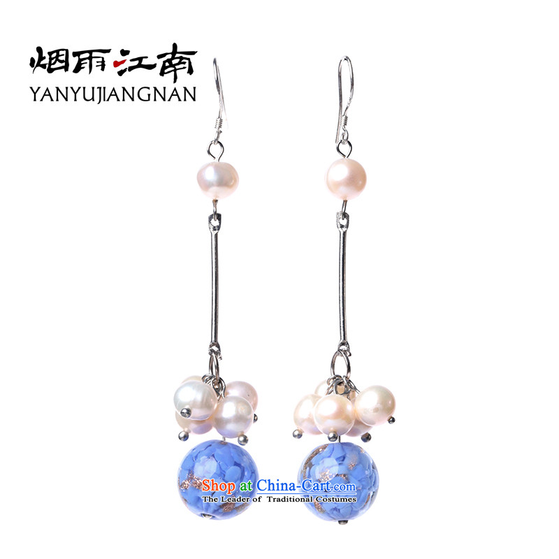 Gangnam-gu rainy ethnic earrings long temperament glass pearl retro China wind female聽925 silver coarse ear hook