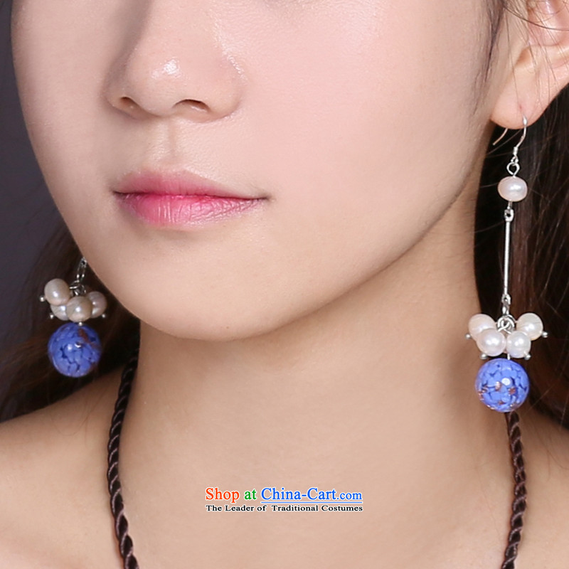 Gangnam-gu rainy ethnic earrings long temperament glass pearl retro China wind female聽925 silver bold, rain ear Gangnam , , , shopping on the Internet