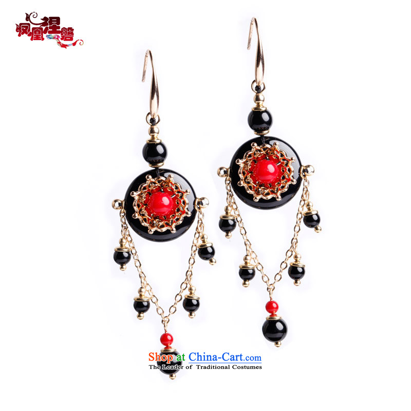 Phoenix Nirvana original earrings female black agate plating Stylish retro real gold manually Ear Ornaments China wind accessories Zhu yarn curtain Earrings