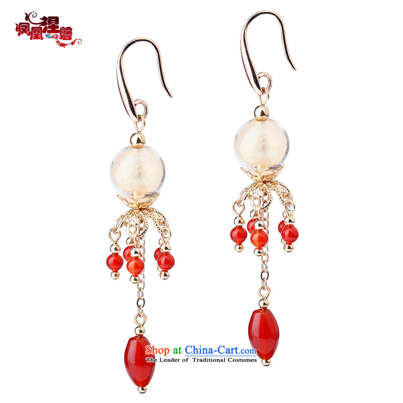 Phoenix Nirvana original earrings female Red Agate edging glass beads of real gold plated Ear Ornaments China wind ornaments wind claptrap Earrings