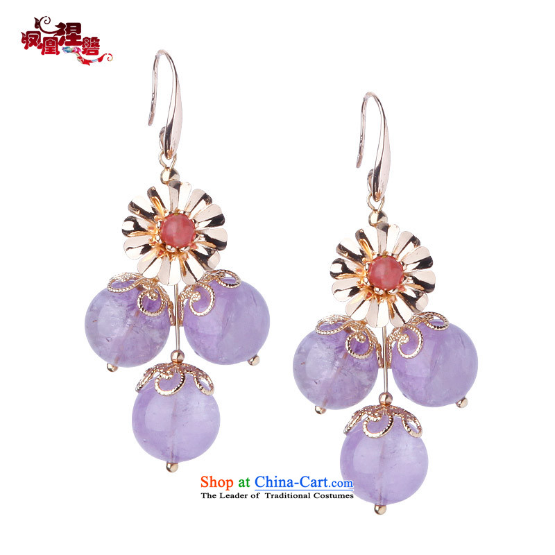 Phoenix Nirvana Amethyst earrings female stylish leather true gold-plated watermelon ear ornaments original China wind accessories Heung-sa Earrings