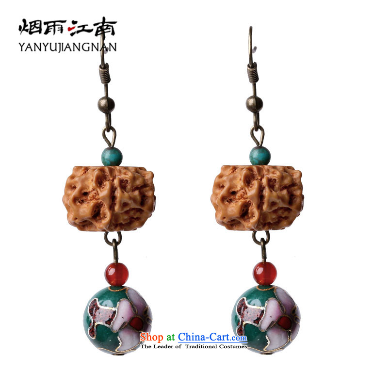 Gangnam-gu rainy ethnic earrings long temperament Bodhi Cloisonne Accessory retro ear ornaments women fall arrester China Wind聽925 silver coarse ear hook