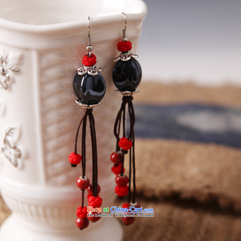 Cheong Wa Song ethnic earrings long temperament fabrics ceramic retro ear Fall Classics China wind ear ornaments female