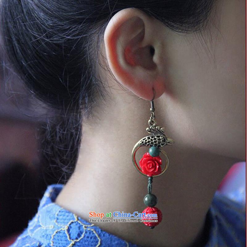 Hanata for China wind Classical Rose Peacock earrings female retro ethnic costume qipao fall arrester ear ear ornaments Magenta