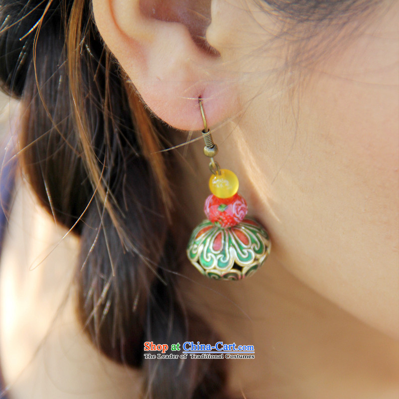 Hanata for antique palace Cloisonne Accessory butterfly earrings female long ear Fall Arrest of ethnic old character China wind jewelry Ear Ornaments