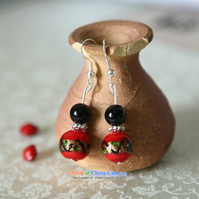 Hanata earrings jewelry female human ear clip national quality culture China Wind Flower decorations ear ear ornaments red retro plane crash glass_
