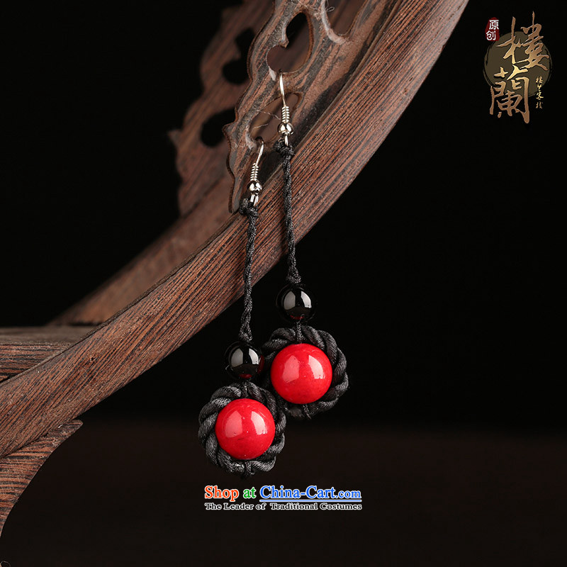 Red ancient style of ethnic earrings temperament retro long ancient costume of Agate Pendant ear ear ornaments female plain alloy earhook copper-colored __, not easy to deform the hardness is high