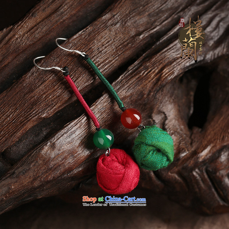Ethnic earrings long temperament fabrics agate retro ear Fall Arrest China wind costume ear ornaments female one red and one green _______ Common alloy earhook __, not easy to deform the hardness is high