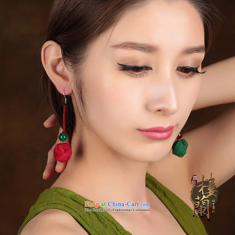 Ethnic earrings long temperament fabrics agate retro ear Fall Arrest China wind costume ear ornaments female green 925 anti-allergy_tick Yingerh Cod plus _2.