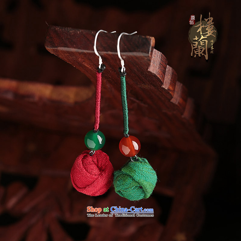 Ethnic earrings long temperament fabrics agate retro ear Fall Arrest China wind costume ear ornaments female one red and one green _925 ANTI-ALLERGY_tick Yingerh Cod plus $2.