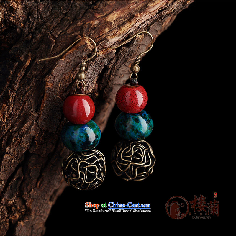 Original manually ceramic Phoenix stone jewelry products short of ancient ethnic groups wind earrings retro ear fall arrest girls ordinary alloy earhook copper-colored __, not easy to deform the hardness is high