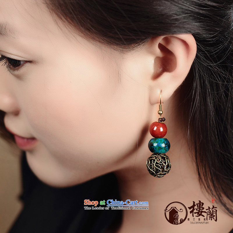 Original manually ceramic Phoenix stone jewelry products short of ancient ethnic groups wind earrings retro fall arrest girls between the ear ear clip copper-colored _Fit plus _2 No Kungkuan