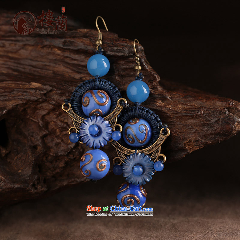 Blue glass earrings women ancient classical agate long temperament ear fall arrest girls China wind ear ornaments switch Ear Clip copper-colored _Fit plus $2 No Kungkuan